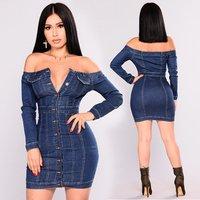 Dvacaman Hot Selling Sexy Tight Denim Jean Dress for Women Party Club Ball Skirt Clothes