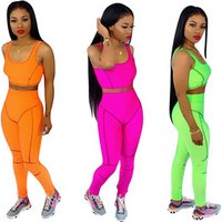 2019 hot sell CA574 fashion active style crop top and pants 2 piece set women