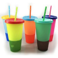 5 Pcak Set 700ml Ins Hot Selling Plastic Temperature Color Change Cup Color Changing Cup Tumbler with Straw