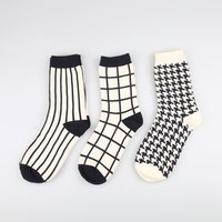 BONYPONY Womans Casual Black White Plaid  Athletic Crew Dress Socks Cool Fun Happy Striped Patterned Cotton Socks for Women