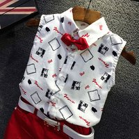 19summer new cotton linen bow tie belt childrens suit Korean tide printed shirt shorts suit children clothes boy kids clothing