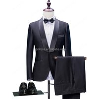 HD040 New High Quality 2017 Black Groom Tuxedos Slim Fit Tailored Suit Shawl Lapel Wedding Suits For Men (Jacket+Pants+Bow)