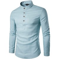Custom Latest Long Sleeve Mens Linen Dress Shirts