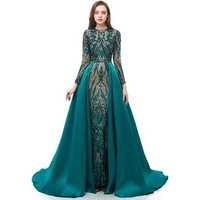 2019 Luxury Lace Long Sleeve Muslim Evening Dress With Detachable Overskirt