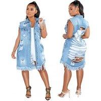 New Fashion Boyfriend Style Women Slim Ripped Denim Coat Casual Long Jean Jacket Outerwear Y11852