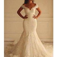 L12617 Lace Mermaid Wedding Dresses  Plus Size Off Shoulder Bridal Gowns