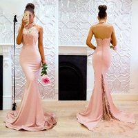 ZH0805X Women Sheer Halter Neck Sleeveless Evening Prom Dress 2019 Mermaid Satin Evening Dress