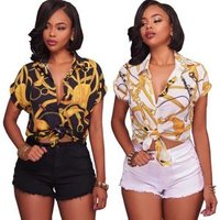 sh10811a Fashion printed woman short sleeve blouse good material blouse ladies