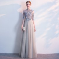Elegant Fashion Chiffon A-Line Party Dress Beaded Flower Appliqued Half Sleeve Pleated Evening Dress Women