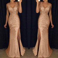 Women Sequin Prom Party Ball Gown Sexy Gold Evening Bridesmaid V Neck Long Dress