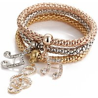 Fashion Three Colors Gold Music Note italian charm bracelet set for women wholesale N95200