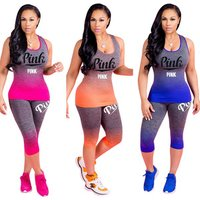 Womens casual sports gradient sleeveless top + cropped trousers Two Piece Set