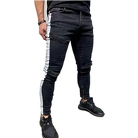 2019 fashion 95% cotton 5% elastane fabric mens ripped skinny denim jeans trousers in bulk wholesale jeans from factory direct