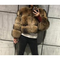 New fashion Women real raccoon fur coats jackets Winter Luxury raccoon fur coat