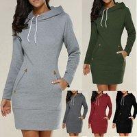 Women Spring Autumn Long sleeve Hooded Pockets Thin Sweatershirt Dress Hoodies Hooded Zipper Pullovers Dress 50% off