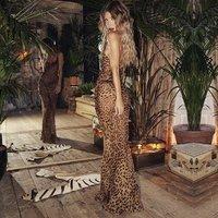 Leopard Print Sexy Women Long Dress Bodycon Strap Winter  Elegant Backless Maxi Party Vintage Dresses Y10598