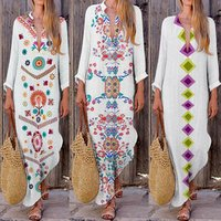 Kaftan Tunic Gypsy Ethnic Womens Cotton Long Sleeve Casual Boho Linen Maxi Dress