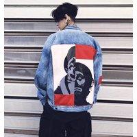 2018 Stock Unisex Denim Jacket For Men Women,Fashion Hiphop Jean Jacket With Graffiti