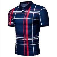 Factory  Piece Custom Fashion Plaid polo shirts Print Lapel Turtleneck Short Sleeve Top  Mens