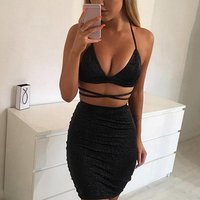 Fashion Two Pieces Set Women Clothing Sexy Crop Tops And Pencil Skirt Spaghetti Strap Two Pieces Outfits Evening Dresses