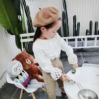 spring autumn girls clothes set white blouse peter pan collar with pants fashion cute baby clothing sets children clothes