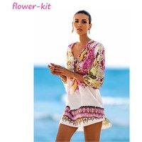 Women Beach Caftan Sarong Beach Tunic, Printing Lady Chiffon Cover Up Beach Dress