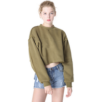 New fashion Burrs sanded long sleeve short sexy crop top loose pullover women hoodie sweatshirt