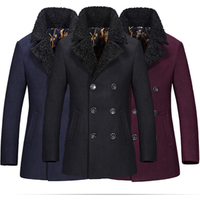 China factory wholesale high quality fur collar wool overcoat mens double-breasted trench coat