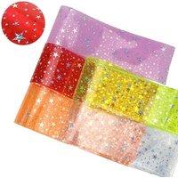 "3"" 75mm Popular Hologram Star PVC Jelly Ribbon For Decoration DIY Bowknot Handbag Shoes Accessories"