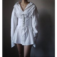 Lace-up belts Corset Design Sexy Casual office white Shirt Dress cotton blouse party sexy women gothic punk dress
