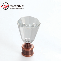 28mm copper crystal glass finial for curtain rod wholesale