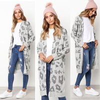 Fall winter trending Europe sweaters women leopard printed knitted cotton long sweaters coat sexy ladies cardigan women sweaters