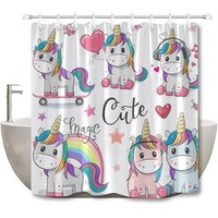 Wholesale Bathroom Decor 100% Polyester Fabric Digital Print Childrens Kids Cute Cartoon Unicorn Shower Curtain