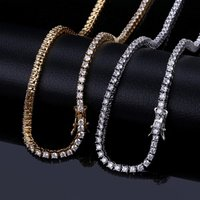 Iced out cz diamond 3mm Tennis chain necklace hiphop gold chain