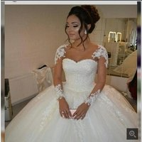 Muslim appliqued beaded lace Puffy ball gown cheap customized white ivory long sleeve wedding dress MWA215