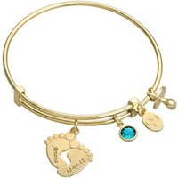 Adjustable Stainless Steel Engrave Fashion Baby Feet Bangle Bracelet with Gold Plating