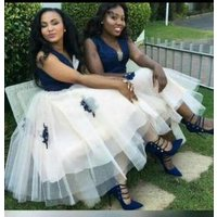 Sexy V-neckline appliqued lace layered puffy big plus size bridal party evening african navy blue bridesmaid dresses MBLA237