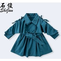 ShiJun 2019 New Design Ruffle Long Kids Trench Coat