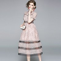 Fashionable Women Noral Short Sleeves Daily Wear Ladies Pink Lace Dress Party Dress Lady Fashion Dress