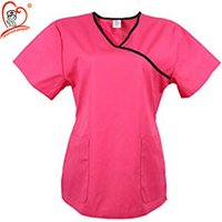 2019 Wholesale Womens Tunic Mock Wrap Hospital Medical Workwear Nurse Scrub Top