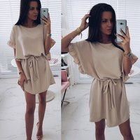 2019 Latest aliexpress top selling hot design loose women wide neck cheap women chiffon short dress