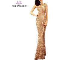 Hot sale party sleeveless fish cut long ball gown women sequin dress evening