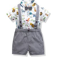 Summer style baby boy clothing set newborn infant clothing short sleeve t shirt + romper pants suspenders suit Y10991