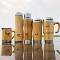 'Bamboo Smart Skinny Vacuum Insulated Sealed Double Wall Stainless Steel Travel Tea Mug Water Bottle Mug Tumbler Cups Wholesale