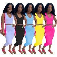A050913 wholesale cheap woman solid color plain pencil skirt vest top dress fashion two piece set women clothing