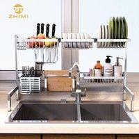 304Stainless Steel Kitchen Dish Drainer Rack Over Sink Kitchen Accessaries Display Storage Holder Shelf Organizer