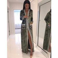 A1935 new light green black brown velvet material beads women winter coat long sleeve wholesale instock