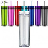 16 oz Acrylic Tumblers Double Wall Clear Plastic skinny glass with Lids and Straws factory Wholesale