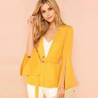 Wine Yellow Split Long Sleeve Belted Outerwear Office Ladies Wrap Workwear Blazer Women Elegant Coat Y10610