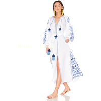 Hot selling Exclusive Design Long Dress Custom Handmade Embroidery Ukrainian kaftan lantern Tunic linen maxi Boho open dress